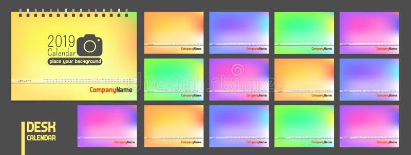 kalender 2019 Modern minsta stilfull universal för all mall för landsvektorfärg royaltyfri illustrationer