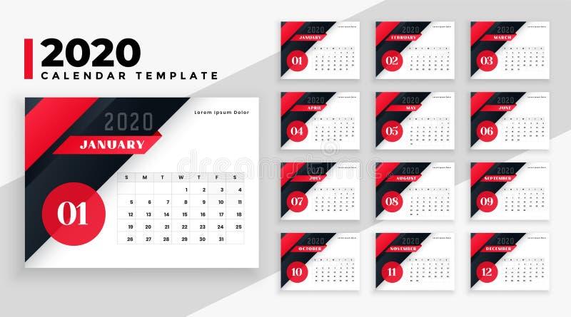2020 Kalender Moderne Geometrische Vorlage Design Vektor ...