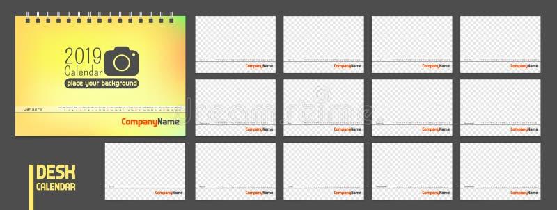 Kalender 2019 Moderne minimale stilvolle Universalität für alle leere Schablone des Landvektors vektor abbildung