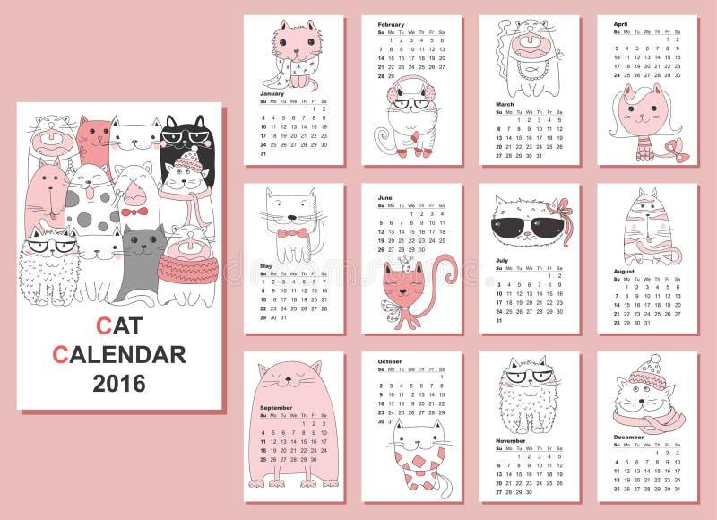 Kalender 2016 Nette Katzen Für Jeden Monat Vektor Abbildung ...