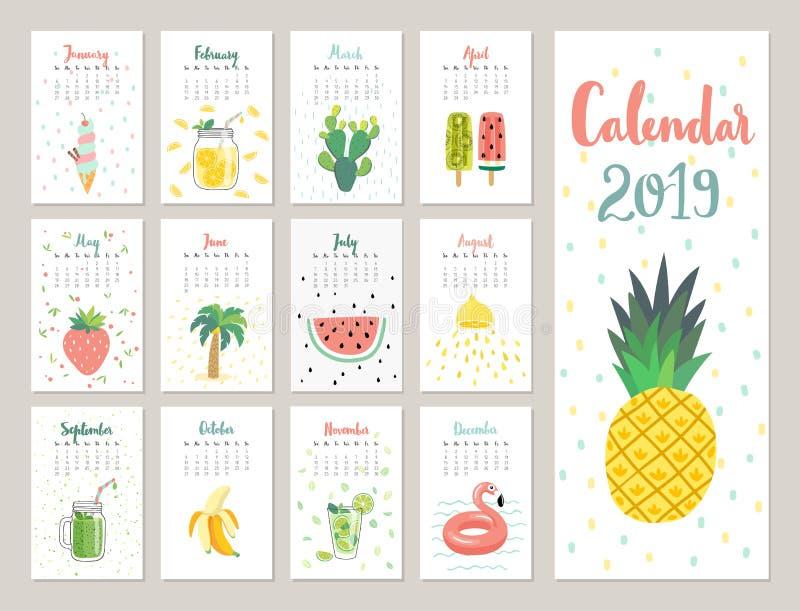 Kalender 2019 Netter Monatskalender mit Lebensstilgegenständen, -früchten und -anlagen lizenzfreie abbildung