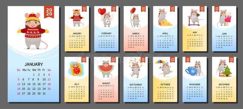 Kalender 2020 stock abbildung