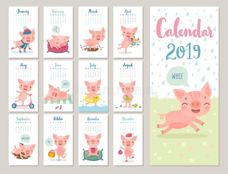 Kalender 2019 Netter Monatskalender mit netten piggies Hand gezeichnete Artcharaktere vektor abbildung