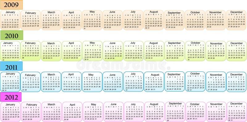 Kalender, neues Jahr 2009, 2010, 2011, 2012 lizenzfreie abbildung