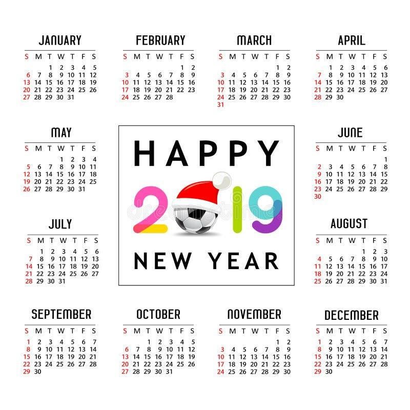 Kalender nieuw jaar 2019, Kerstmanhoed op het malplaatjeontwerp van de voetbalbal royalty-vrije illustratie