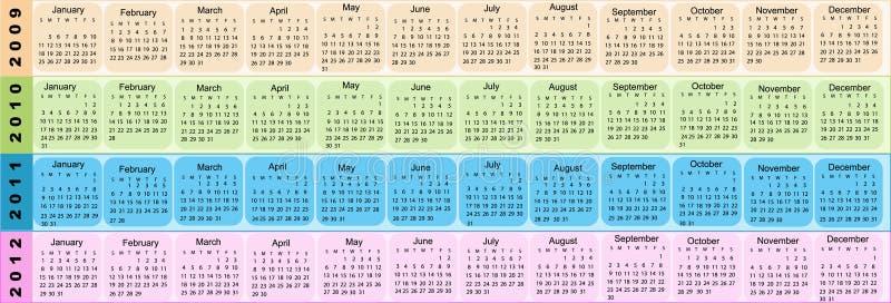 Kalender, Nieuwjaar 2009, 2010, 2011, 2012 vector illustratie