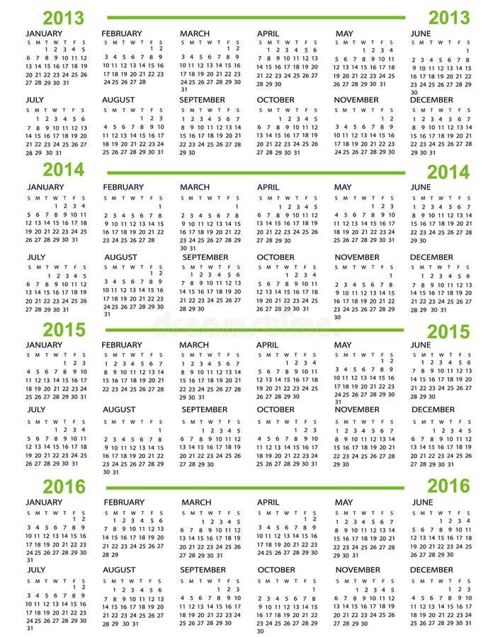 Kalender, Nieuwjaar 2013, 2014, 2015, 2016 royalty-vrije illustratie
