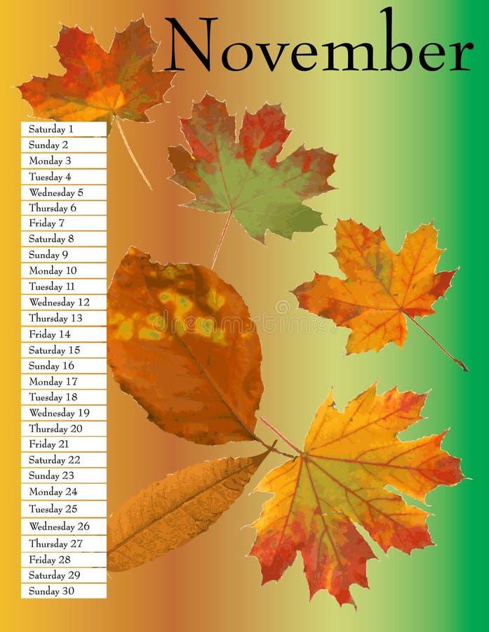 Kalender November. royalty-vrije illustratie