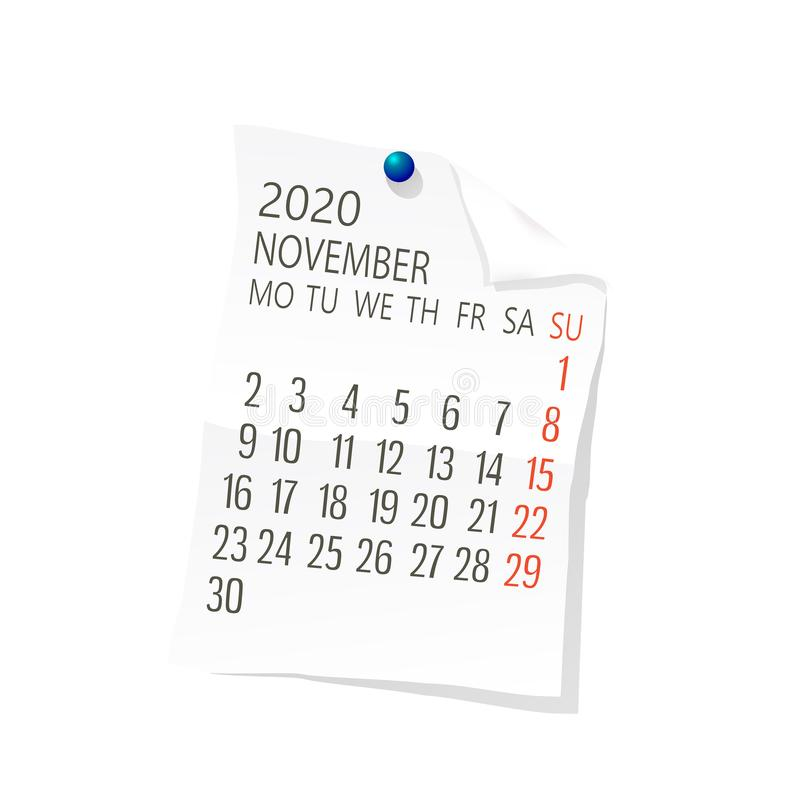 Kalender November-2020 vektor abbildung