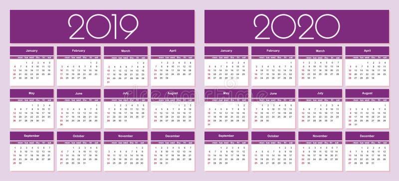 Kalender 2019 och 2020 år royaltyfri illustrationer