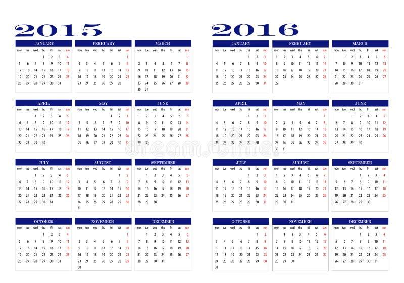 Kalender 2015 och 2016 stock illustrationer