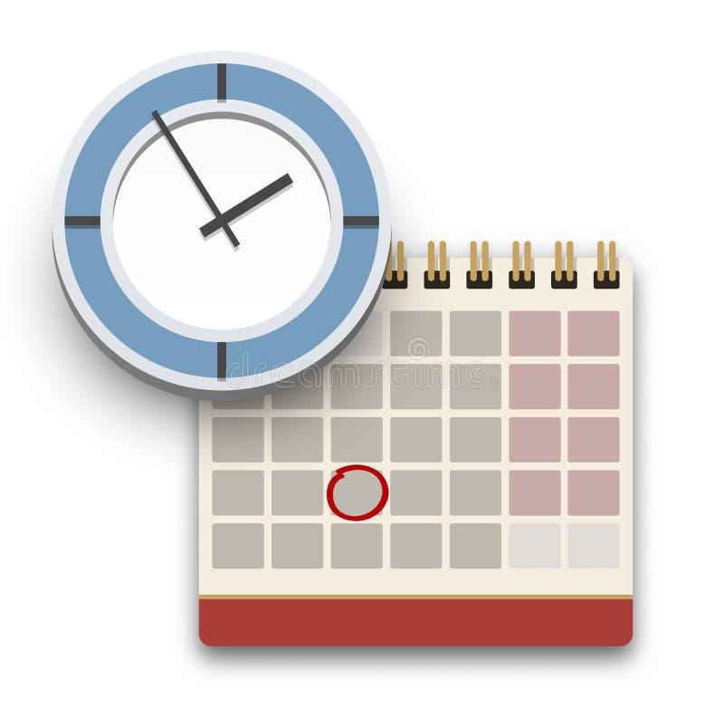 Kalender- och klockasymbol Stopptid- eller tidledningbegrepp stock illustrationer