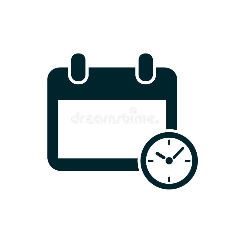 Kalender- och klockikon Schema, påminnelse, tidshantering, avtalad tid, organisatör, viktigt datum - lagervektor royaltyfri illustrationer