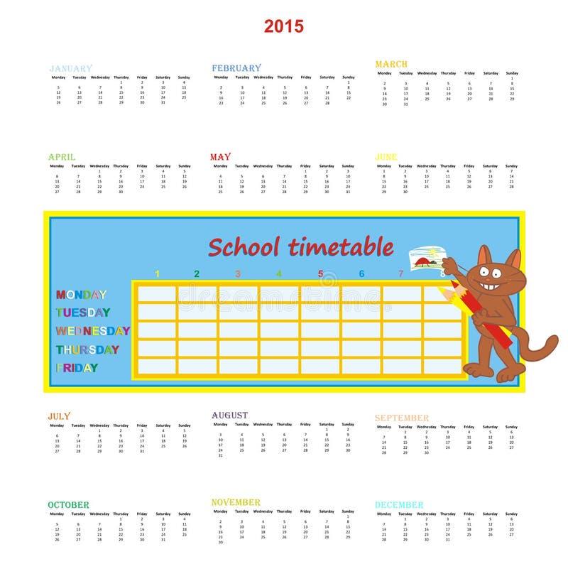 Kalender 2015 och skolaschema vektor illustrationer