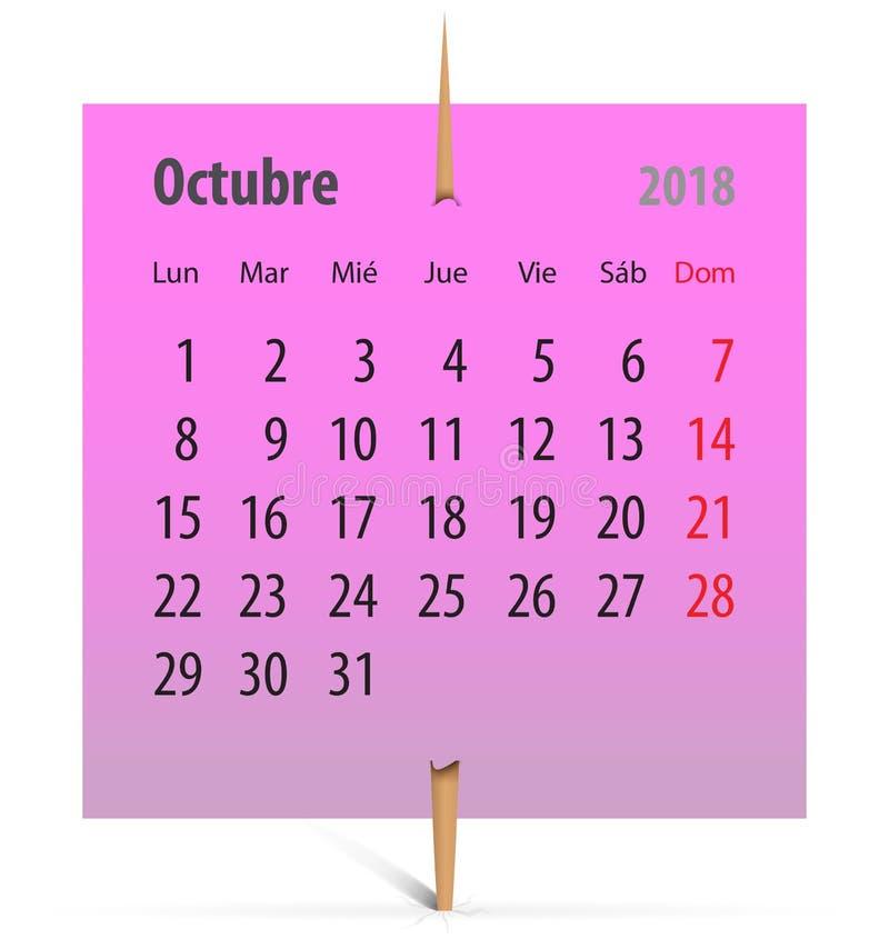 Kalender 2018_Octubre vektor illustrationer