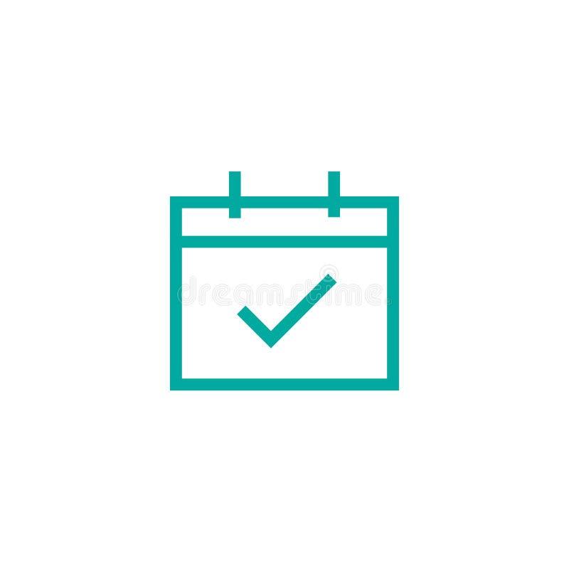 Kalender- oder Organisatorseite mit okayzecke Vektorikonenkalender mit Häkchen überprüfen Sie Datum, tote Leitung lizenzfreie abbildung