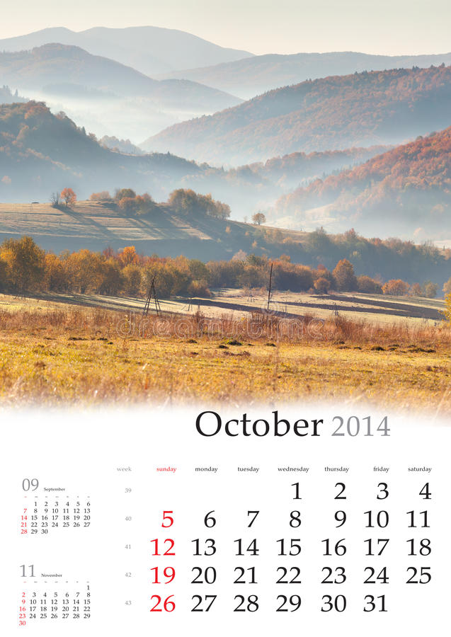 Kalender 2014. Oktober. lizenzfreie stockfotos