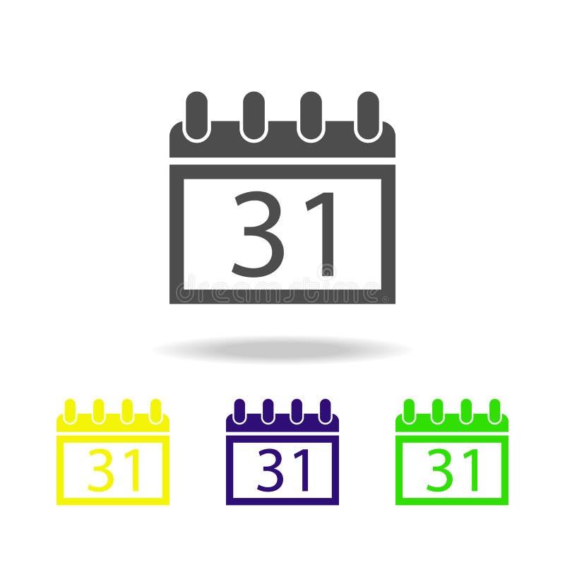 kalender Oktober 31 mångfärgad symbol Beståndsdel av spökebeståndsdelillustrationen Tecknet och symbolsymbolen kan användas för r royaltyfri illustrationer