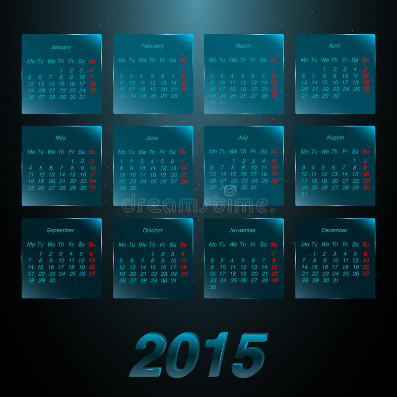 Kalender 2015 op de glas berijpte panelen vector illustratie