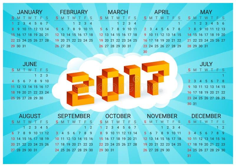 kalender 2017 på en blå bakgrund i stil av gamla 8 bitvideospel Veckan startar från söndag Bokstäver för PIXEL 3D för Ð-¡ olorful vektor illustrationer