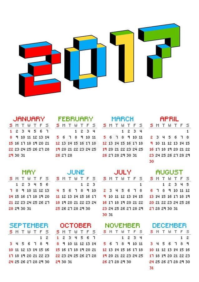 kalender 2017 på en vit bakgrund i stil av gamla 8 bitvideospel Veckan startar från söndag Vibrerande bokstäver för PIXEL 3D stock illustrationer