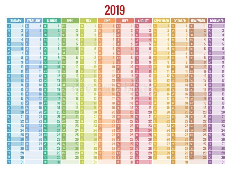 Kalender-Planer für 2019-jähriges Vektor-Briefpapier-Design-Druck-Schablone mit Platz für Foto, Ihr Logo und Text stock abbildung