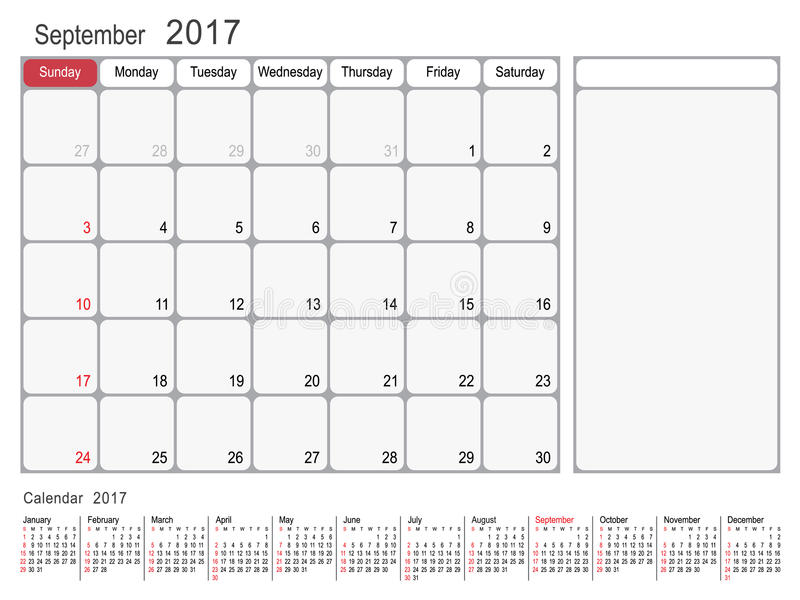 kalender planer im september 2017 vektor abbildung illustration von reports notizblock 82242037. Black Bedroom Furniture Sets. Home Design Ideas