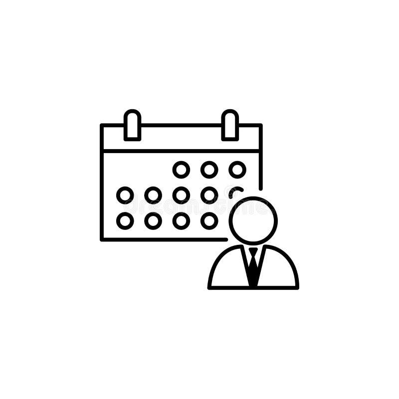 Kalender, programma, arbeiderspictogram op witte achtergrond Kan voor Web, embleem, mobiele toepassing, UI, UX worden gebruikt vector illustratie
