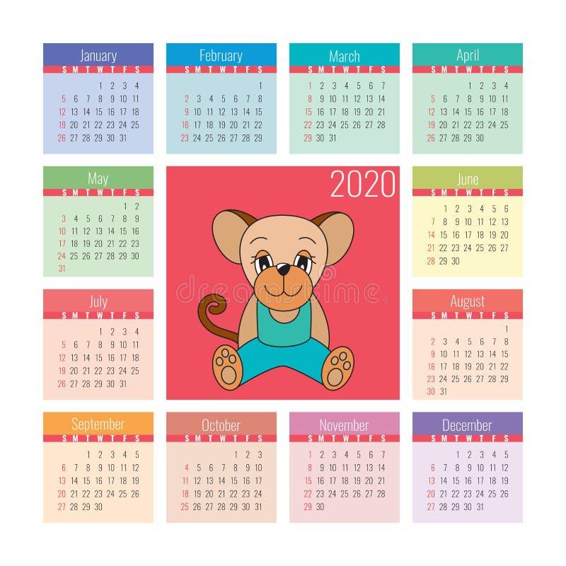Kalender 2020 Rattensymbol des neuen Jahres Nett, als Teil Ihrer Auslegung zu verwenden Chinesisches Horoskop Bunter englischer q vektor abbildung