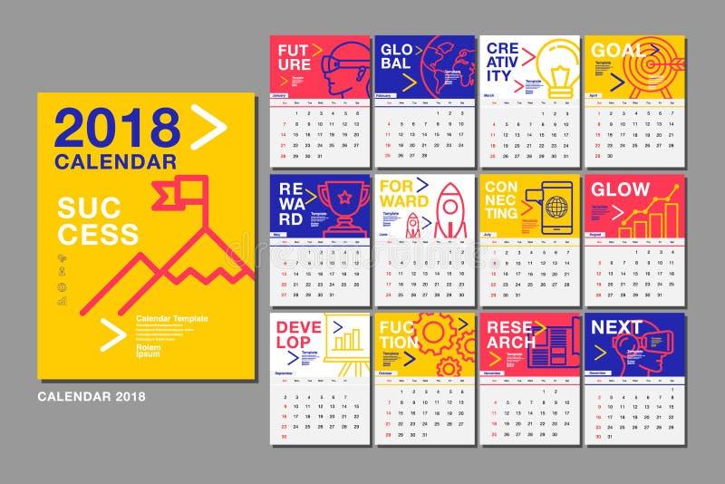 Kalender-Schablone für 2018-jähriges Vektor-Entwurf, Geschäft vektor abbildung