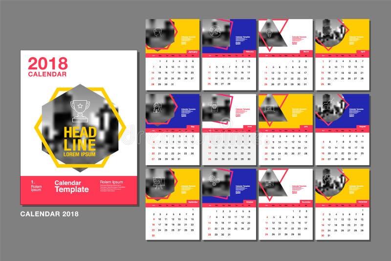Kalender-Schablone für 2018-jähriges Vektor-Entwurf, Geschäft stock abbildung