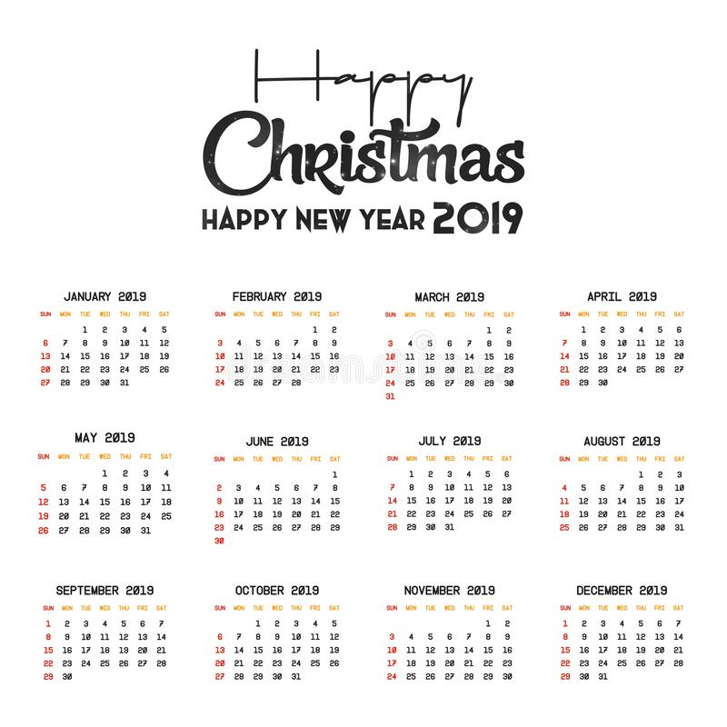 2019 Kalender-Schablone Weihnachts- und des gl?cklichen neuen Jahreshintergrund vektor abbildung