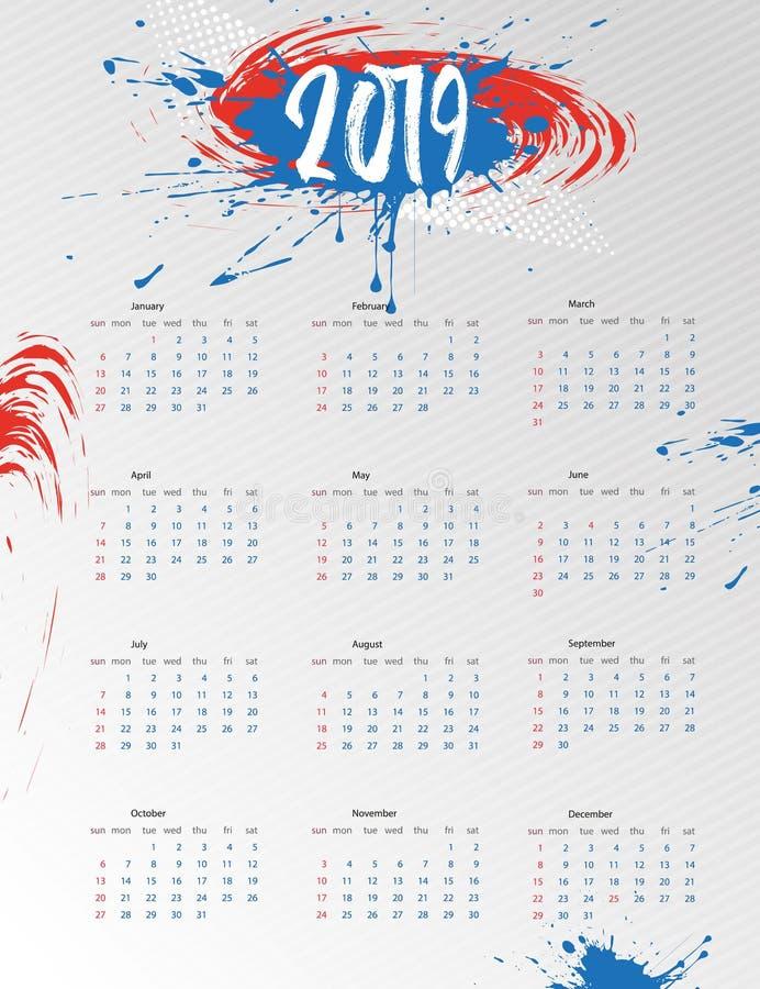 Kalender 2019 Schablonenplakat des modernen Entwurfs des Kalenders Helles Plakat mit nachgemachten Flecken Die Wochenanfänge am S vektor abbildung