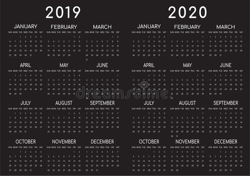 2019-2020 Kalender-Schwarzes Backgrounded stock abbildung
