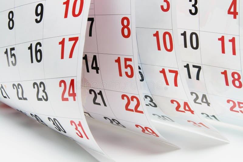Kalender-Seiten stockfoto