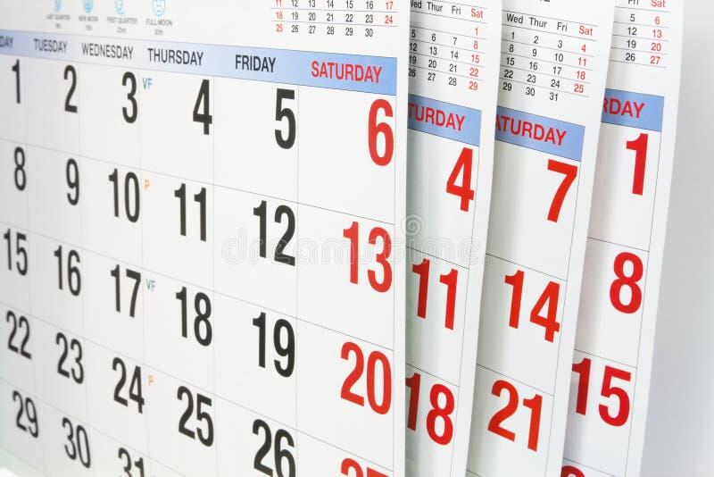 Kalender-Seiten stockfotos