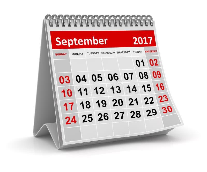 Kalender - September 2017 stock abbildung