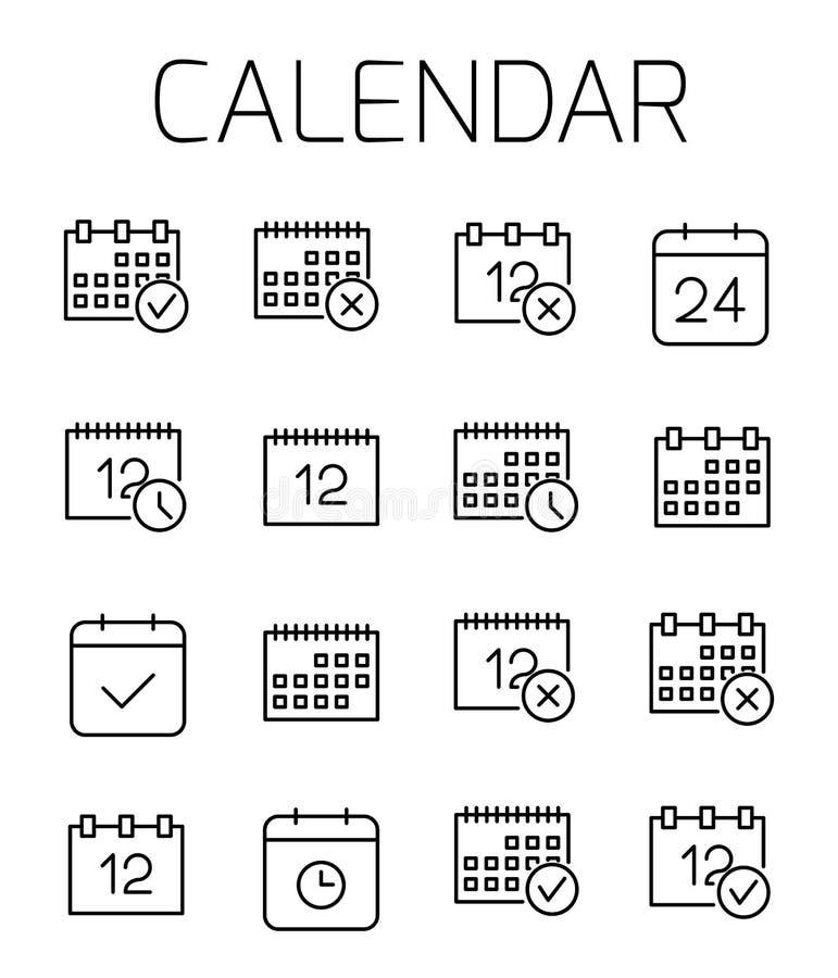 Kalender släkt vektorsymbolsuppsättning royaltyfri illustrationer