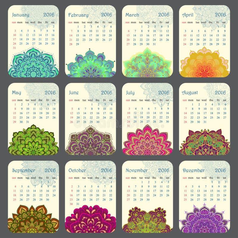 Kalender som 2016 dekoreras med den runda blommamandalaen vektor illustrationer