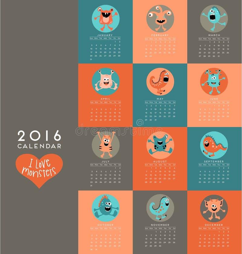 kalender som 2016 illustreras med gulliga små monster royaltyfri illustrationer