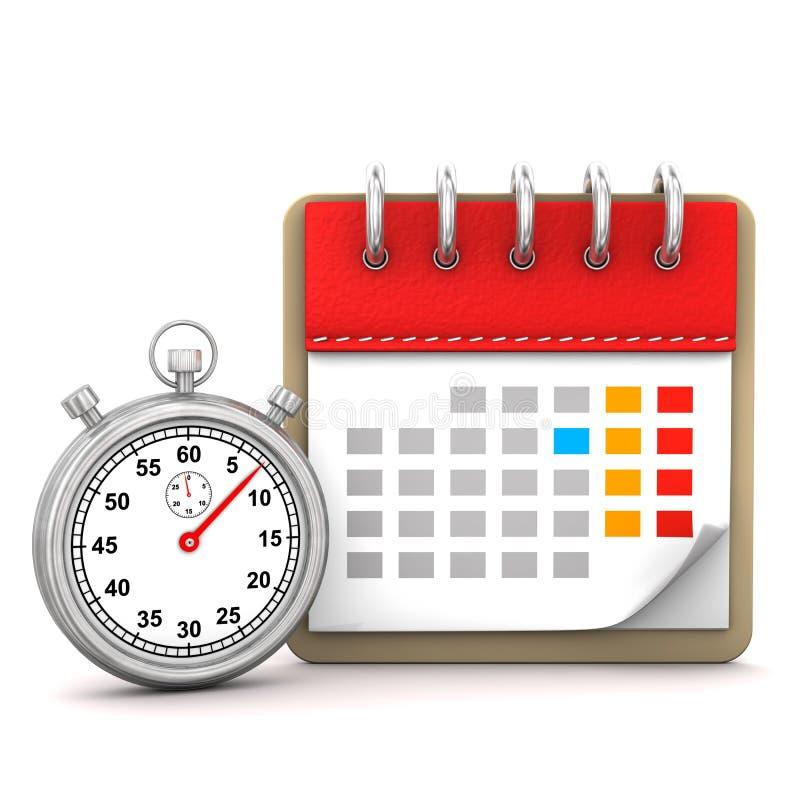 Kalender-Stoppuhr lizenzfreie abbildung