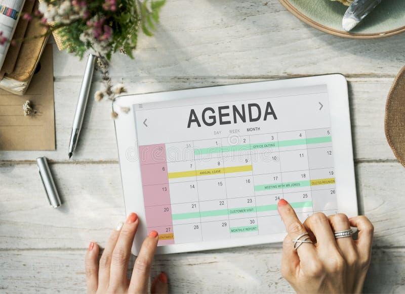 Kalender-Tagesordnungs-Ereignis-Sitzungs-Anzeigen-Zeitplan-Grafik-Konzept lizenzfreies stockbild
