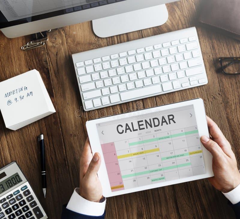 Kalender-Tagesordnungs-Ereignis-Sitzungs-Anzeigen-Zeitplan-Grafik-Konzept stockbild