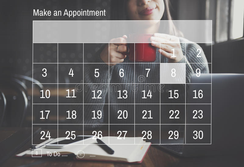 Kalender-Tagesordnungs-Verabredungs-Fristen-Sitzungs-Konzept stockfotografie
