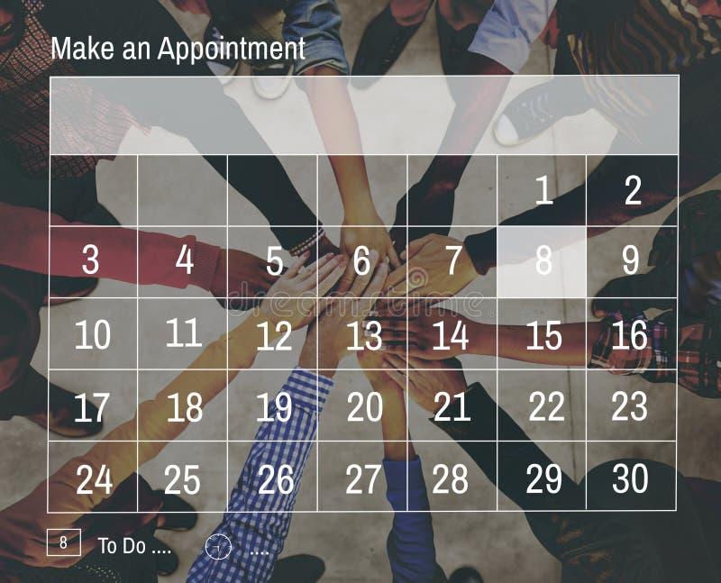 Kalender-Tagesordnungs-Verabredungs-Sitzungs-Notiz-Konzept stockbilder