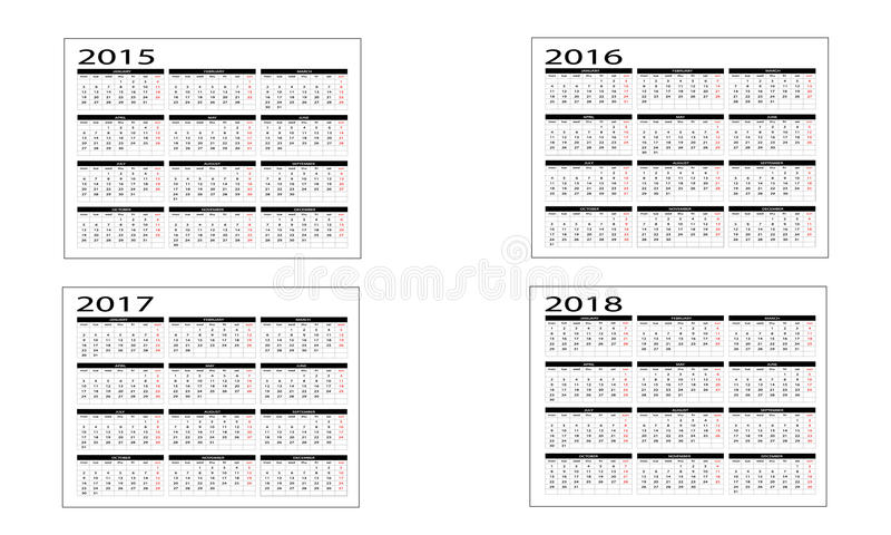 Kalender 2015 till 2018 royaltyfri illustrationer