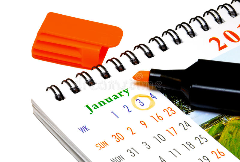 Kalender u. Leuchtmarker lizenzfreie stockfotos