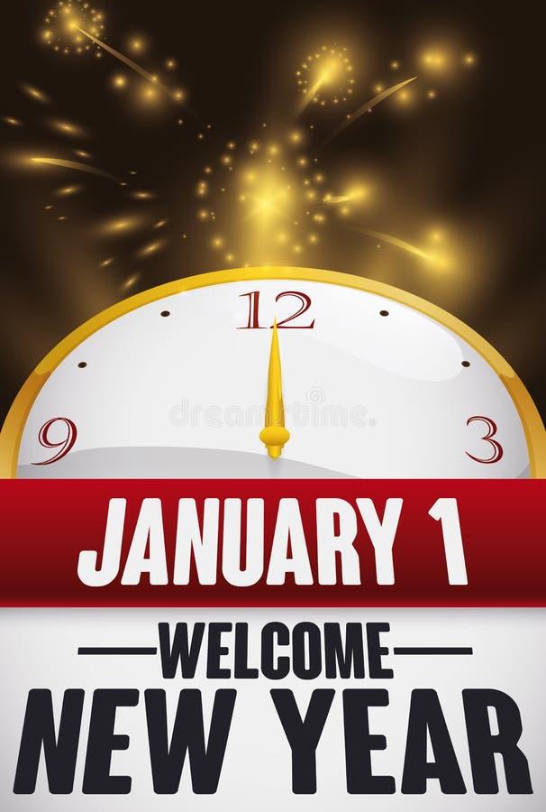 Kalender, Uhr und Feuerwerk zur Feier des neuen Jahres, Vektor-Illustration lizenzfreie abbildung