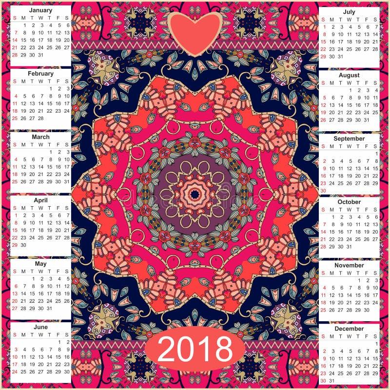 Kalender 2018 Uitstekende decoratieve elementen Oosters mandalapatroon stock illustratie
