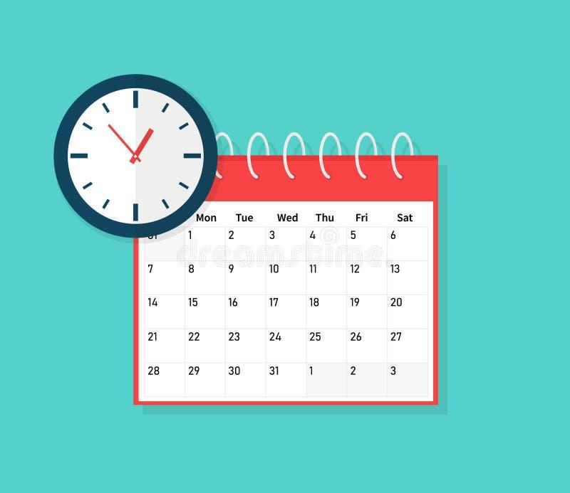 Kalender und Borduhr Zeitplan, Verabredung, wichtiges Datumskonzept Flaches Karikaturdesign, Vektorillustration an stock abbildung